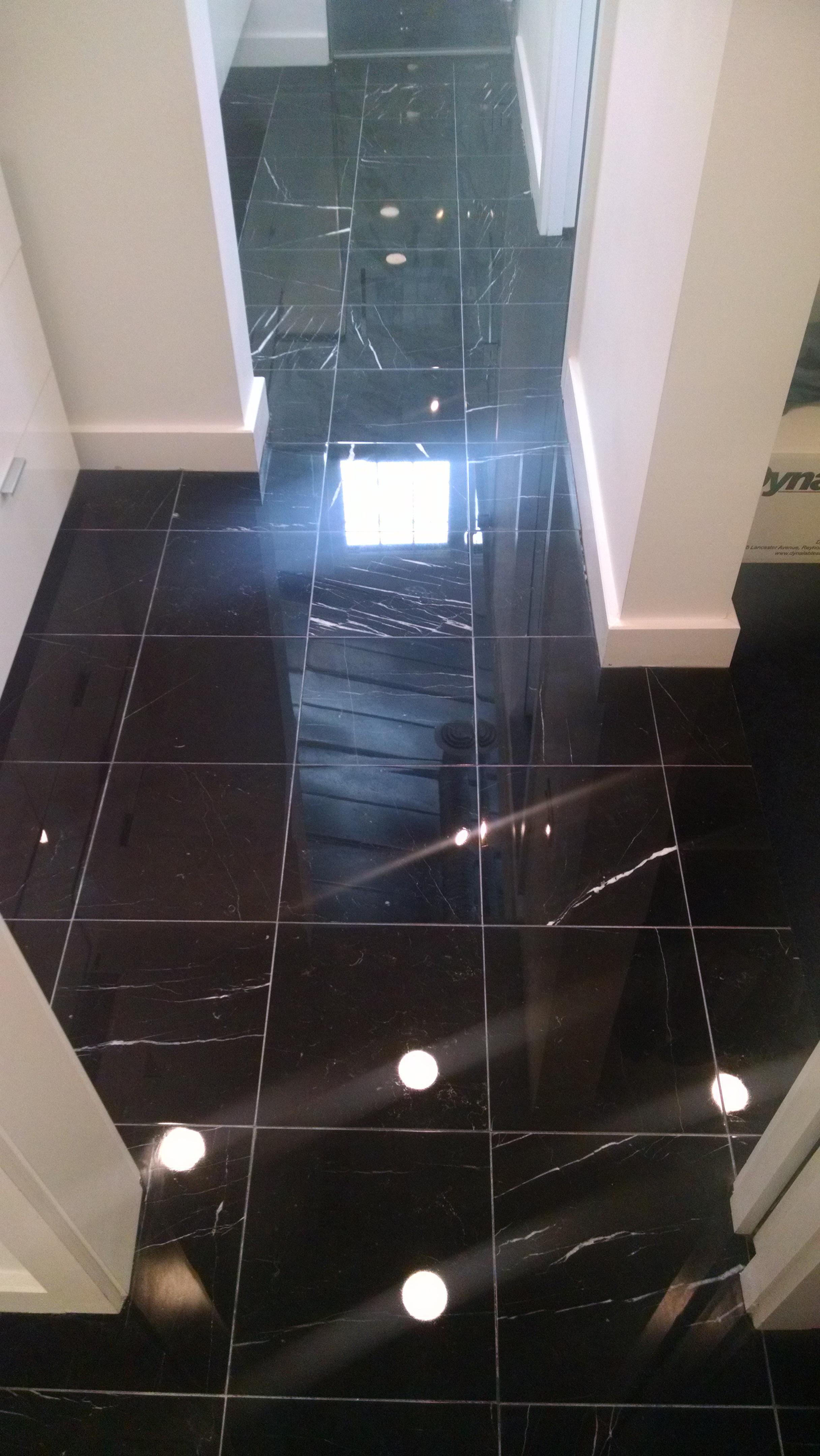 Polished Black Marble Master Bathroom Flooring Alexandria Marble Restoration Limited